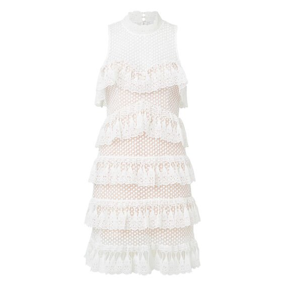 Lace Tier Dress  WHITE  hi-res