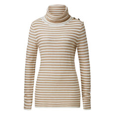 Gold Button Roll Neck  CARAMEL/CREAM  hi-res