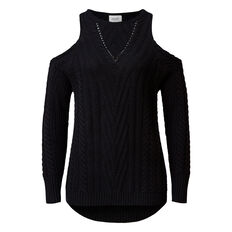 Cold Shoulder Cable Knit  BLACK  hi-res