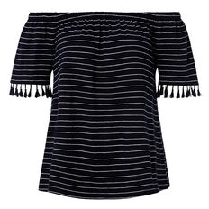 Tassel Trim Top  INK BLUE/WHITE STRIP  hi-res