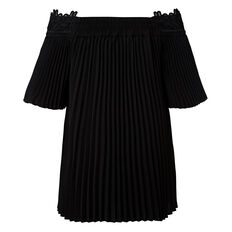 Off Shoulder Pleat Top  BLACK  hi-res