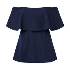 Off Shoulder Frill Top  INK BLUE  hi-res