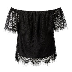 Off Shoulder Lace Top  BLACK  hi-res