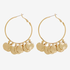 Curved Coin Hoops  GOLD  hi-res