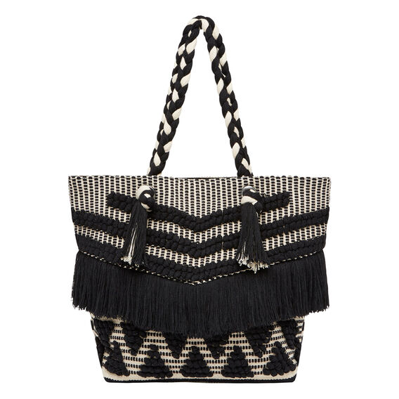 Tassel Tote  BLACK/WHITE  hi-res