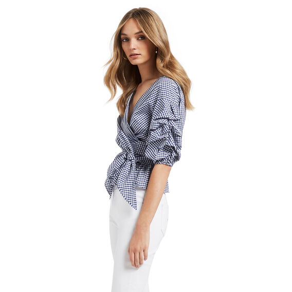 Cotton Gingham Top  BLUE WATER GINGHAM  hi-res
