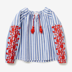 Floral Stripe Smock Top  BLUE SKY  hi-res