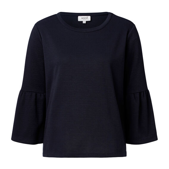 Frill Sleeve Sweater  INK BLUE  hi-res
