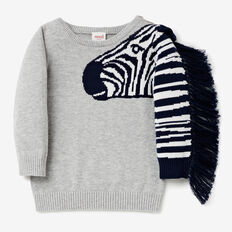 Zebra Sleeve Knit  BIRCH MARLE  hi-res