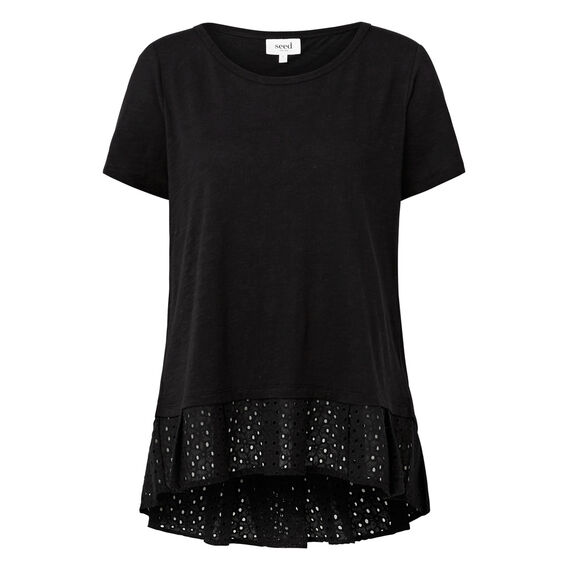 Cross Back Lace Hem Tee  BLACK  hi-res