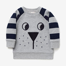 Raglan Novelty Sweater  CEMENT MARLE  hi-res