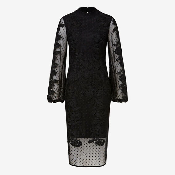 Funnel Neck Lace Dress  BLACK  hi-res