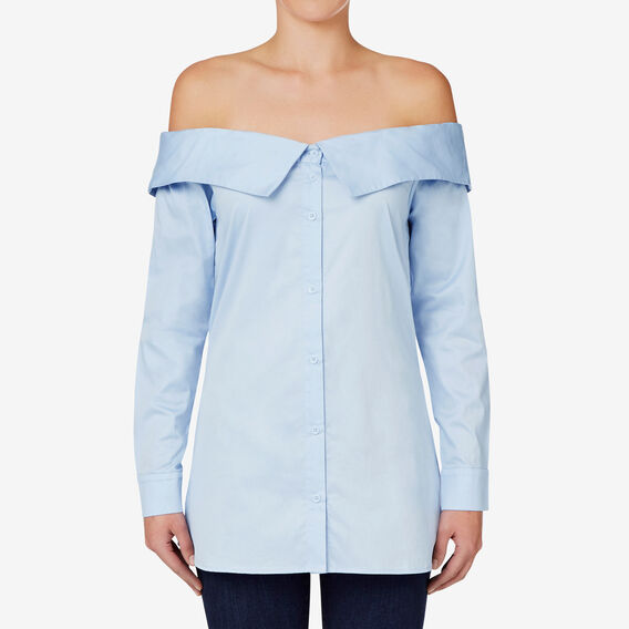 Shirting Off Shoulder Top  DUTCH BLUE  hi-res