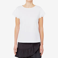 Scallop Sleeve Top  BRIGHT WHITE  hi-res