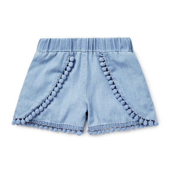 Chambray Pom Pom Short  CHAMBRAY  hi-res
