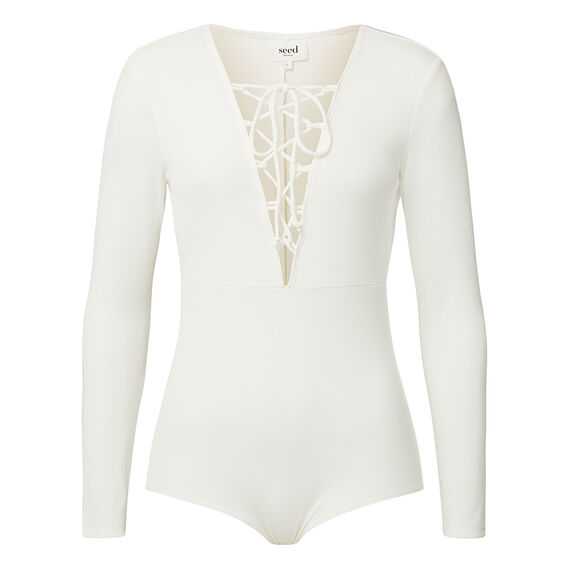 Collection Front Tie Bodysuit  CREAM  hi-res