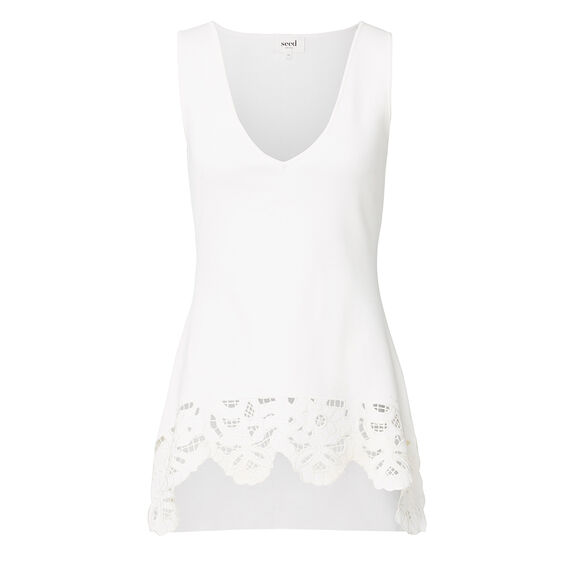 Collection Lace A-line Crepe Top  CREAM  hi-res