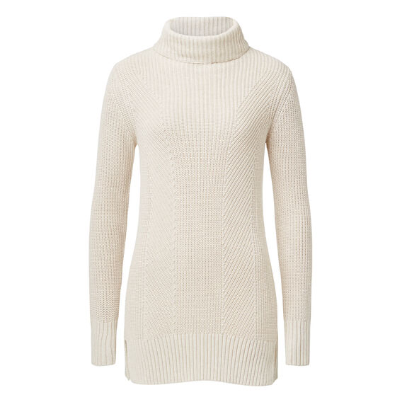 Dipped Roll Neck Sweater  OATMEAL MARLE  hi-res