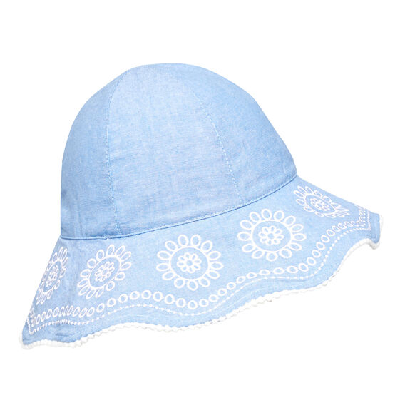 Scallop Trim Sun Hat  CHAMBRAY  hi-res