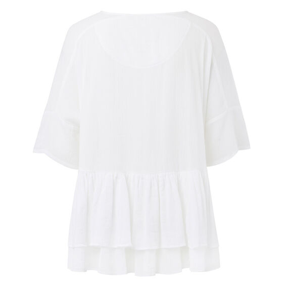Double Frill Top  WHITE  hi-res