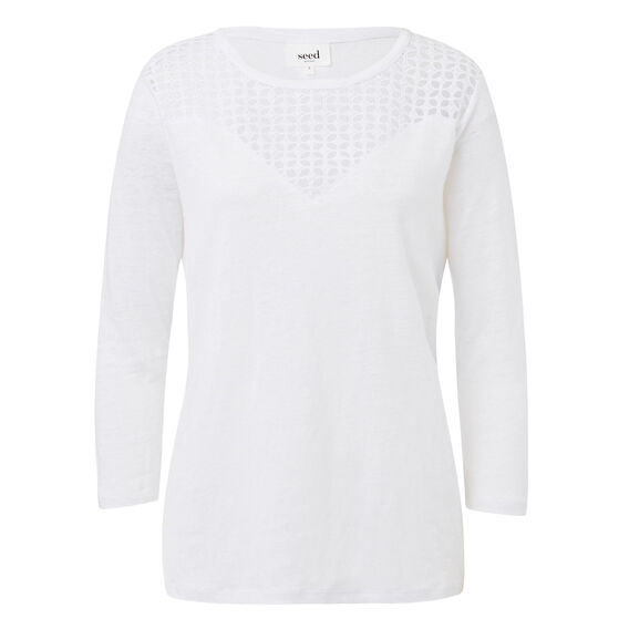 Broderie Linen Tee  WHITE  hi-res