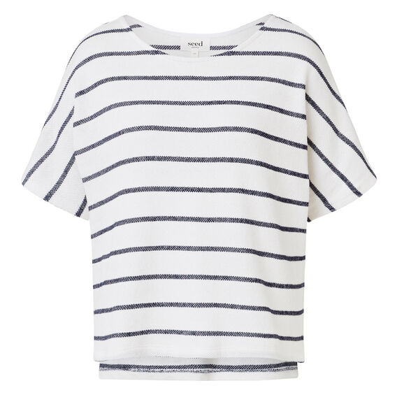 Easy Textured Stripe Top  INK BLUE/WHITE STRIP  hi-res