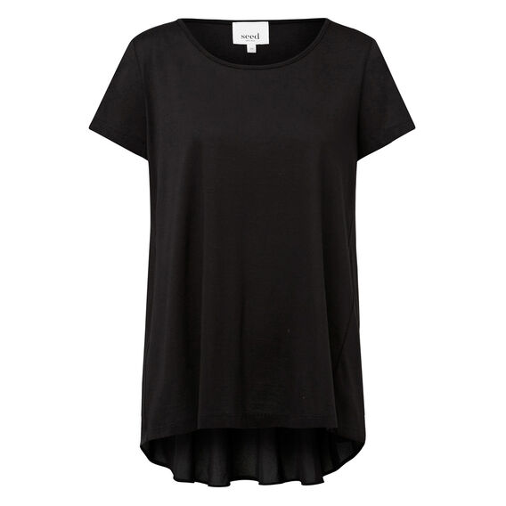 Lace Back Swing Tee  BLACK  hi-res