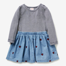 Ladybug Splice Dress  TRUE BLUE WASH  hi-res