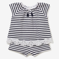 Broderie Stripe Playsuit  NAVY  hi-res