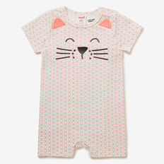 Geometric Cat Romper  BRIGHT APRICOT  hi-res