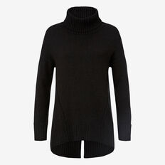 Split Hem Roll Neck Knit  BLACK  hi-res