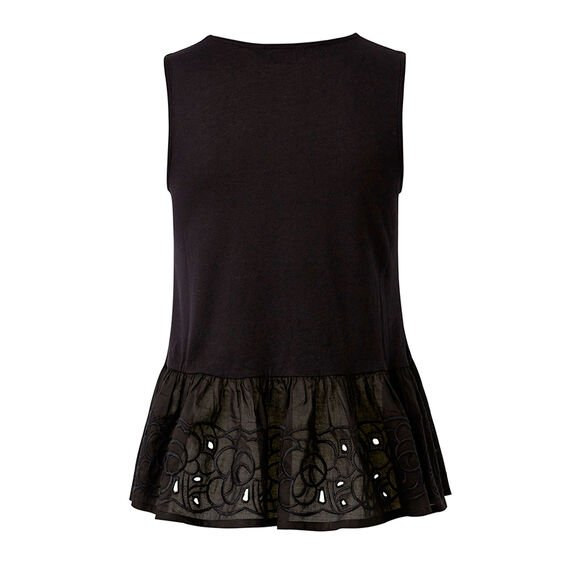 Embroidered Peplum Tank  BLACK  hi-res