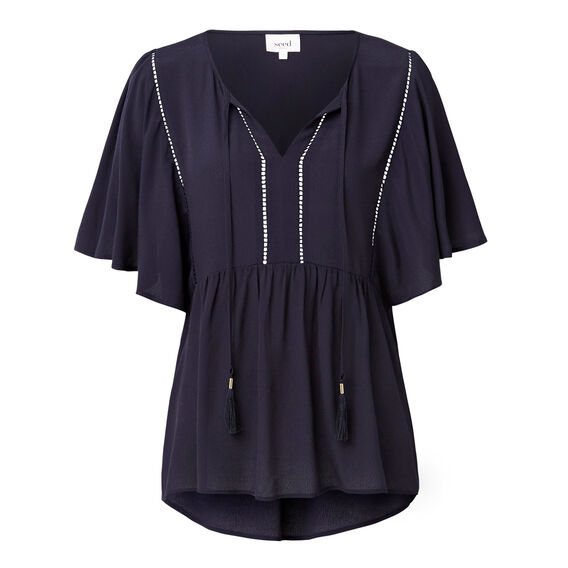 Tie Front Frill Blouse  INK BLUE  hi-res