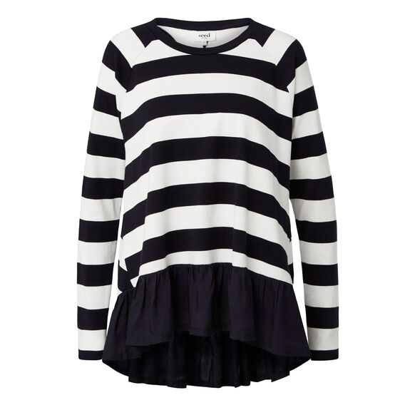 Block Stripe Frill Long Sleeve Tee  INK BLUE/WHITE STRIP  hi-res