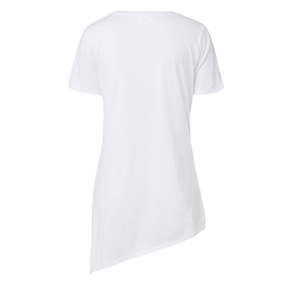 Asymmetrical Split Tee  WHITE  hi-res