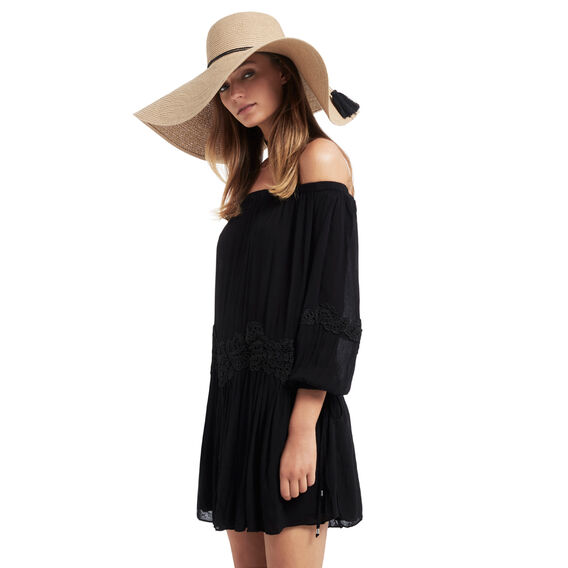 Cheesecloth Lace Dress  BLACK  hi-res