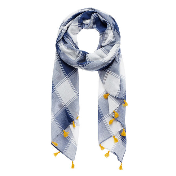 Check Tassel Scarf  NAVY/WHITE  hi-res