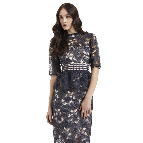 Lace Peplum Dress  INK BLUE  hi-res