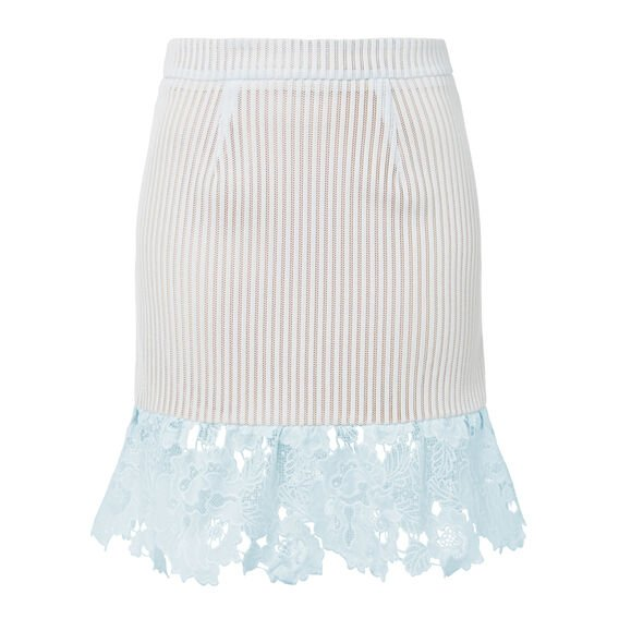 Lace Frill Flare Skirt  ICE BLUE  hi-res
