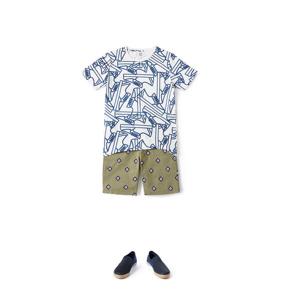 Ikat Print Short  LIGHT KHAKI  hi-res