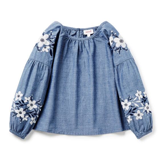 Embroidered Smock Top  WASHED CHAMBRAY  hi-res