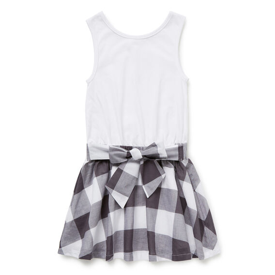 Gingham Splice Dress  CEMENT GREY  hi-res