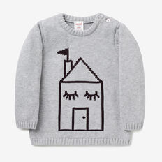 House Intarsia Crew Knit  BIRCH MARLE  hi-res