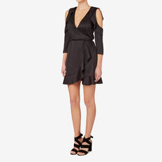 Wrap Frill Dress  BLACK  hi-res