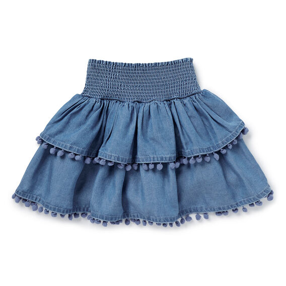 Chambray Pom Pom Skirt  INDIGO CHAMBRAY  hi-res
