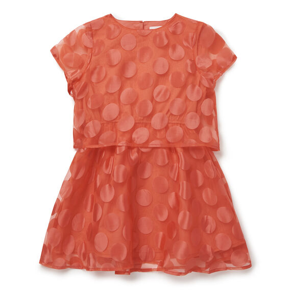 Double Layer Spot Dress  CHERRY RED  hi-res