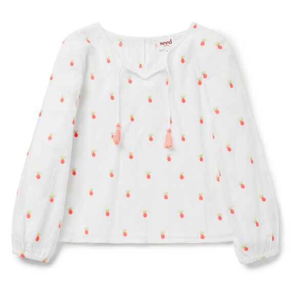 Pineapple Embroidered Top  WHITE  hi-res