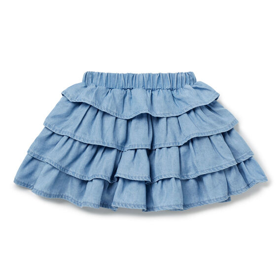 Chambray Ruffle Skirt  SOFT BLUE CHAMBRAY  hi-res