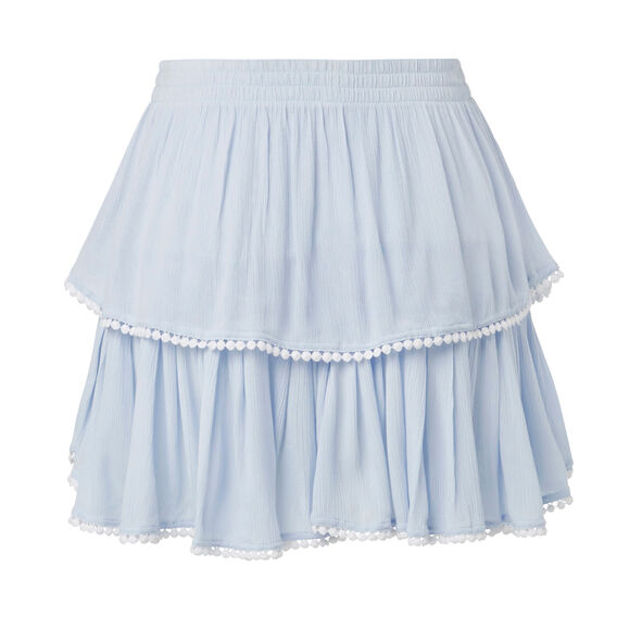 Pom Pom Trim Skirt  ICE BLUE CHAMBRAY  hi-res