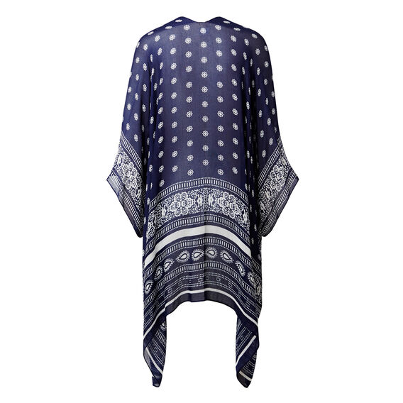 Summer Poncho  NAVY/WHITE  hi-res
